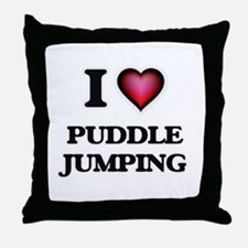 I love Puddle Jumping Throw Pillow