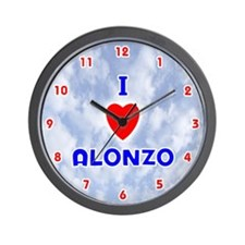 I Love Alonzo (Red/Bl) Valentine Wall Clock