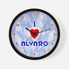 I Love Alvaro (Red/Bl) Valentine Wall Clock
