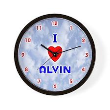 I Love Alvin (Red/Bl) Valentine Wall Clock