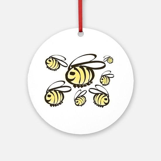 Happy Bees! Round Ornament