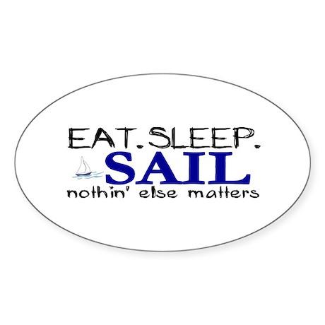 Eat Sleep Sail Oval Sticker