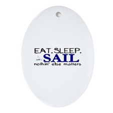 Eat Sleep Sail Oval Ornament