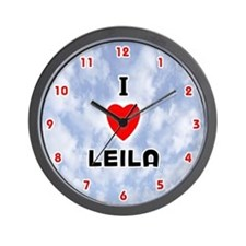 I Love Leila (Red/Blk) Valentine Wall Clock
