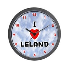 I Love Leland (Red/Blk) Valentine Wall Clock