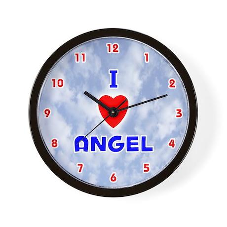 I Love Angel (Red/Bl) Valentine Wall Clock