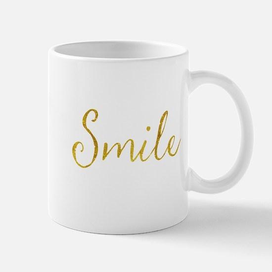 Smile Gold Faux Foil Glitter Metallic Quote I Mugs