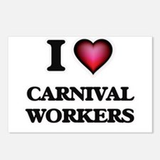 I love Carnival Workers Postcards (Package of 8)