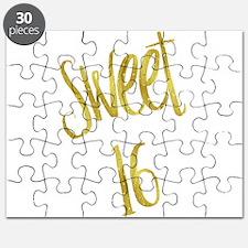 Sweet 16 Gold Faux Foil Metallic Glitter Si Puzzle