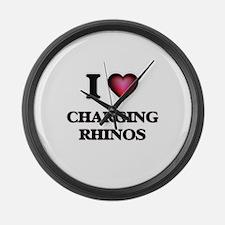 I love Charging Rhinos Large Wall Clock