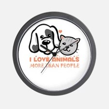i love animals more than people Wall Clock