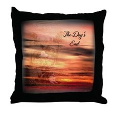 The Day's End Western Throw Pillow (sunset)