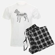 Pit Bull Word Art Greyscale Pajamas