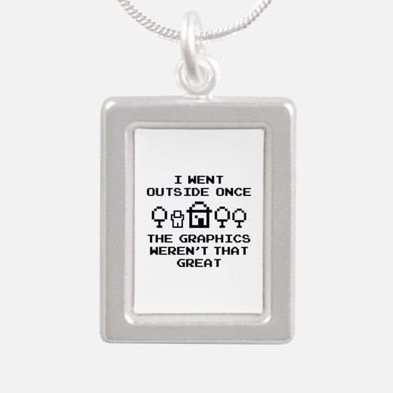 I Went Outside Once Silver Portrait Necklace
