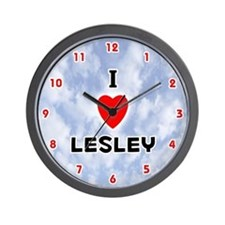 I Love Lesley (Red/Blk) Valentine Wall Clock