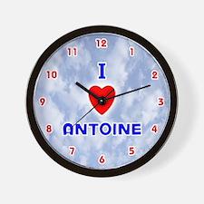 I Love Antoine (Red/Bl) Valentine Wall Clock