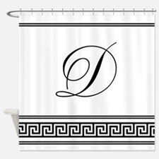 Monogram Letter D Greek Key Deco Shower Curtain