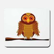 Cute Brown Owl with Orange Eyes on Branc Mousepad
