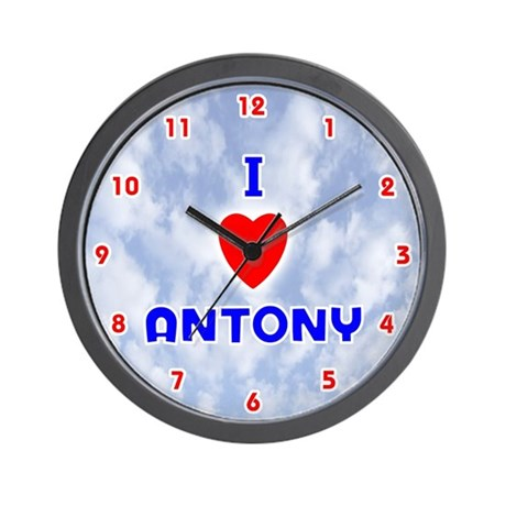 I Love Antony (Red/Bl) Valentine Wall Clock