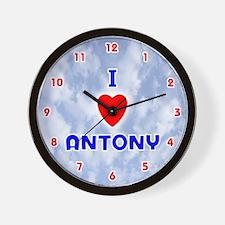 I Love Antony (Red/Bl) Valentine Wall Clock