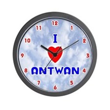 I Love Antwan (Red/Bl) Valentine Wall Clock