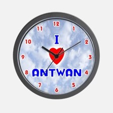 I Love Antwan (Red/Bl) Valentine Wall Clock