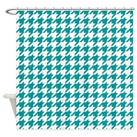 Blue, Teal: Houndstooth Checkered P Shower Curtain