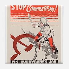 Vintage poster - Stop Communism Tile Coaster
