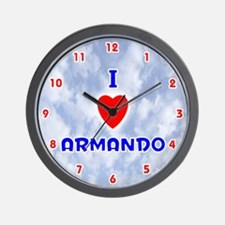 I Love Armando (Red/Bl) Valentine Wall Clock
