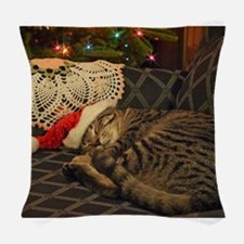 Santa Daisy the cat Woven Throw Pillow