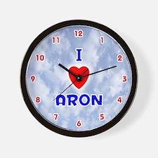 I Love Aron (Red/Bl) Valentine Wall Clock