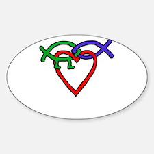 Interlocking creation.png Sticker (Oval)