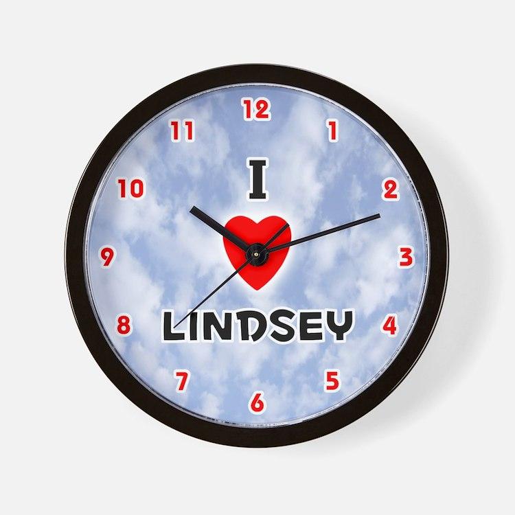 I Love Lindsey (Red/Blk) Valentine Wall Clock