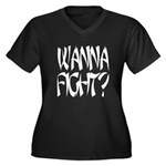 Wanna fight.png Women's Plus Size V-Neck Dark T-Sh