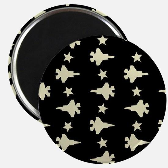 F-35 Lightning II & Stars Pattern (Black) Magnet