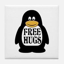 Free Hugs Penguin Tile Coaster