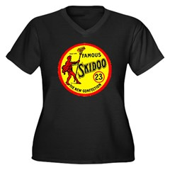 23 Skidoo Women's Plus Size V-Neck Dark T-Shirt