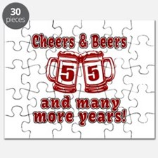 Cheers And Beers 55 And Many More Years Puzzle