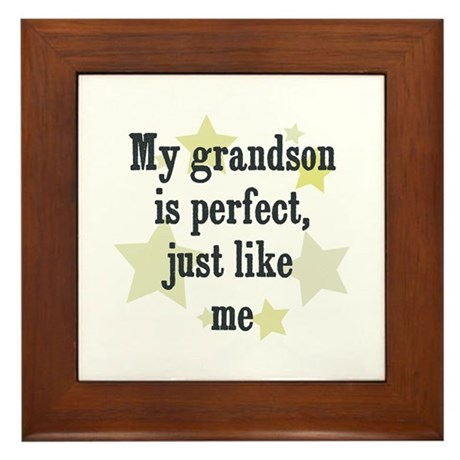 My grandson is perfect, just Framed Tile