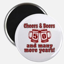 """Cheers And Beers 50 And Ma 2.25"""" Magnet (100 pack)"""