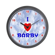 I Love Barby (Red/Bl) Valentine Wall Clock