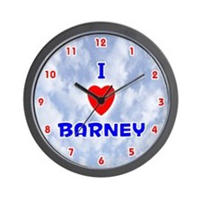 I Love Barney (Red/Bl) Valentine Wall Clock