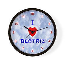 I Love Beatriz (Red/Bl) Valentine Wall Clock