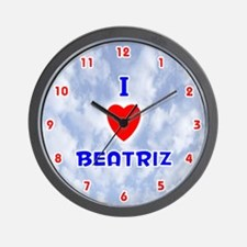 I Love Beatriz (Red/Bl) Valentine Wall Clock