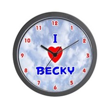 I Love Becky (Red/Bl) Valentine Wall Clock
