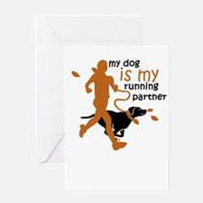 my dog is my running partner Greeting Cards