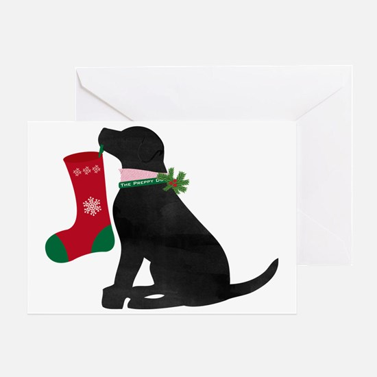 Christmas Black Lab Preppy Dog Greeting Cards