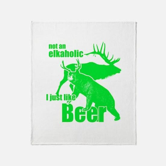 Elkaholic beer Throw Blanket