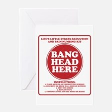 Bang Head Here Stress Reduction Kit Greeting Cards