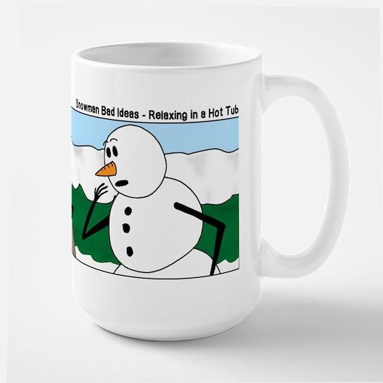 Snowman in an Hot Tub Large Mug